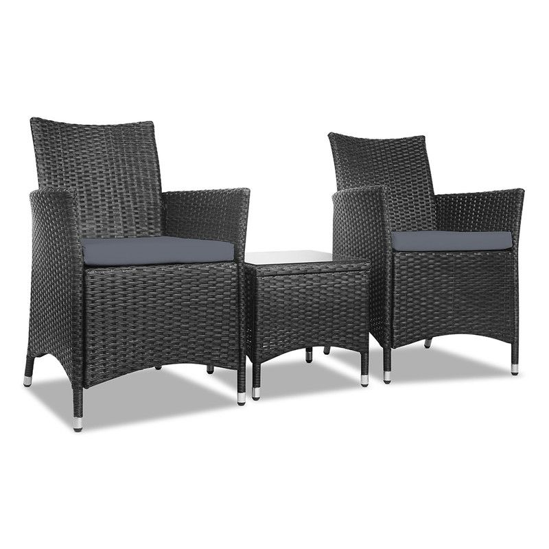 Patio Furniture 3 Piece Outdoor Setting Bistro Set Chair Table