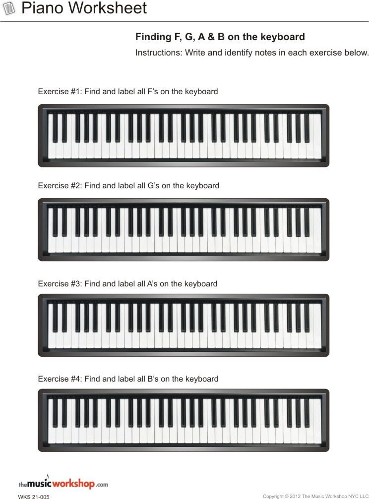 Kids Printable Piano Practice Sheet Piano Worksheet Finding F G A