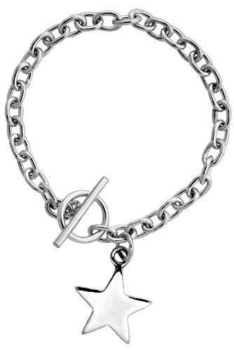 afce287b3 Sterling Silver Oval Rolo Link w/ Star Tag Bracelet, 7 inch long Sabrina  Silver. $81.95