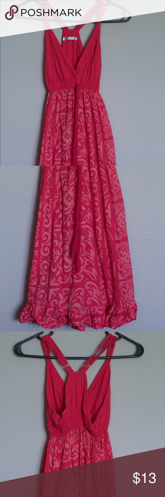 Pink Summer Dress Pink deep V-neck dress and above the knee. Better for smaller chest. Says it's a size L but wears more like a S. Ocean Drive Dresses Mini