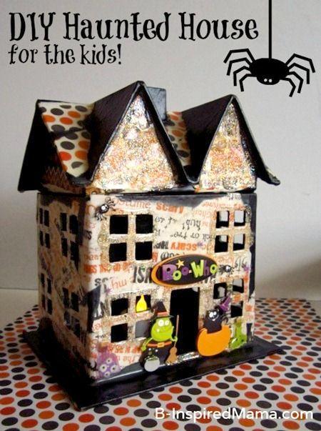 A Mod Podge Haunted House Kids Craft for Halloween at B-InspiredMama.com #kids #halloween #crafts #diy #kbn