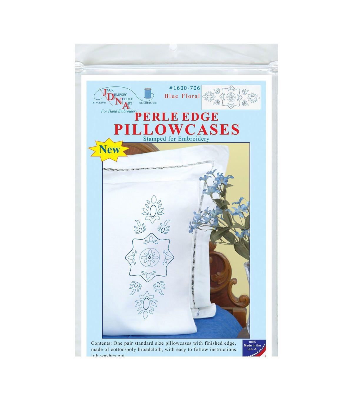 Jack Dempsey Stamped Pillowcases Wwhite Perle Edge 2pkg Blue
