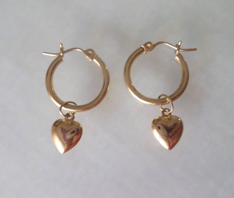 14K Gold Stamped S Signed Hoop Earrings W Dangling Hearts By Bestintreasures On Etsy