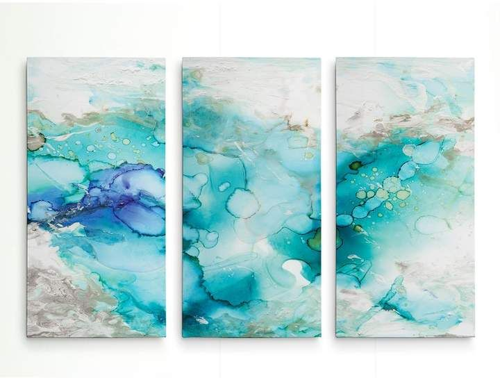 Ivy Bronx 'Teal Marble' Multi-Piece Image on Wrapped Canvas #marblepainting