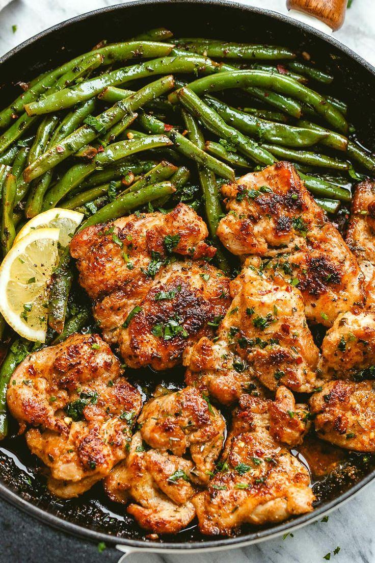 Lemon Garlic Butter Chicken and Green Beans Skillet