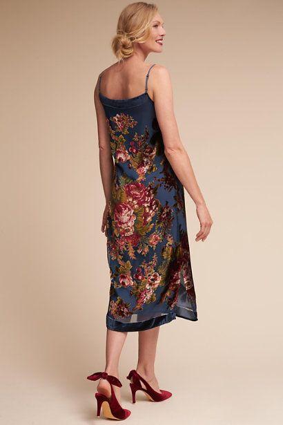 3b2ae43681f2 Blue Floral Carlson Burnout Velvet Dress