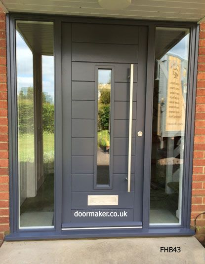 Contemporary door grey central vision panel and frame with for Wooden front doors fitted