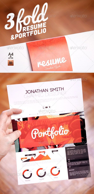 graphic resume design template with folio curriculum vitae
