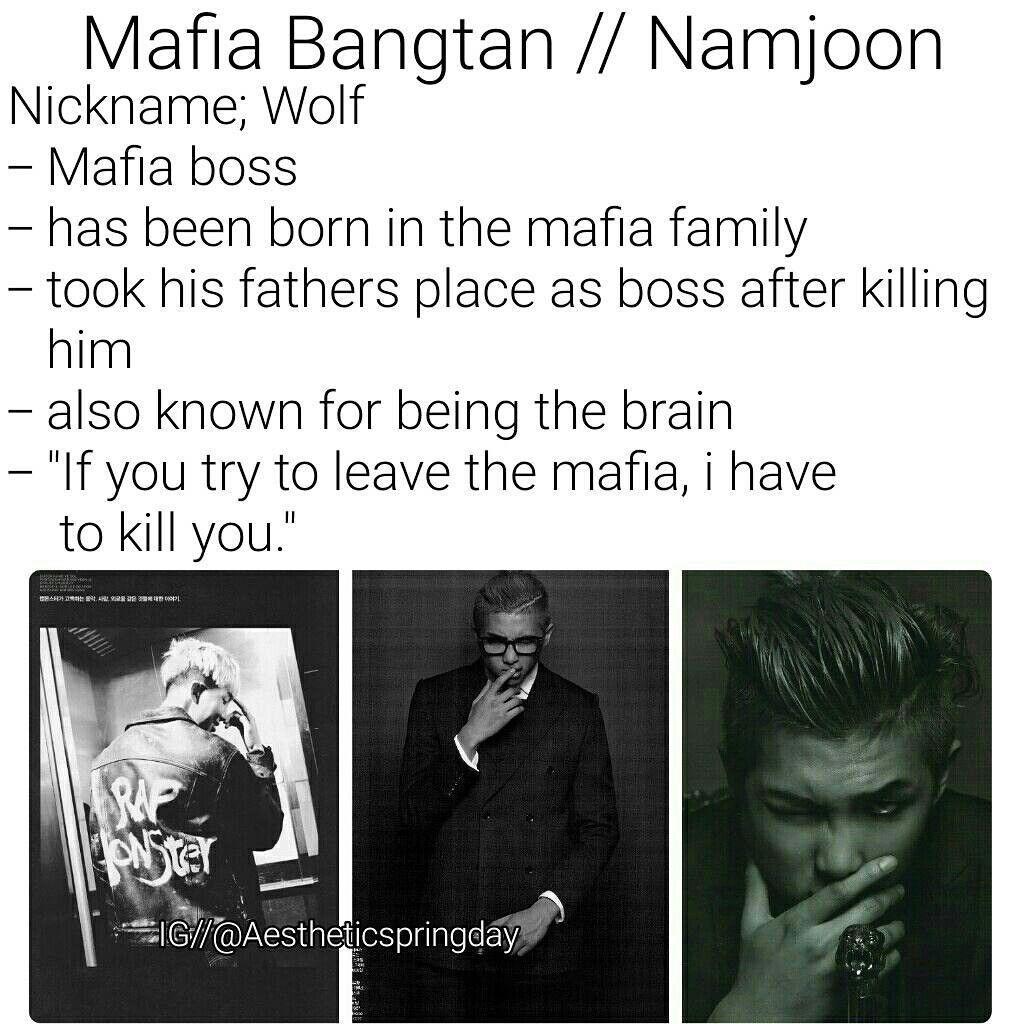 BTS Kim Namjoon RM Imagine Mafia Bangtan   BTS imagines