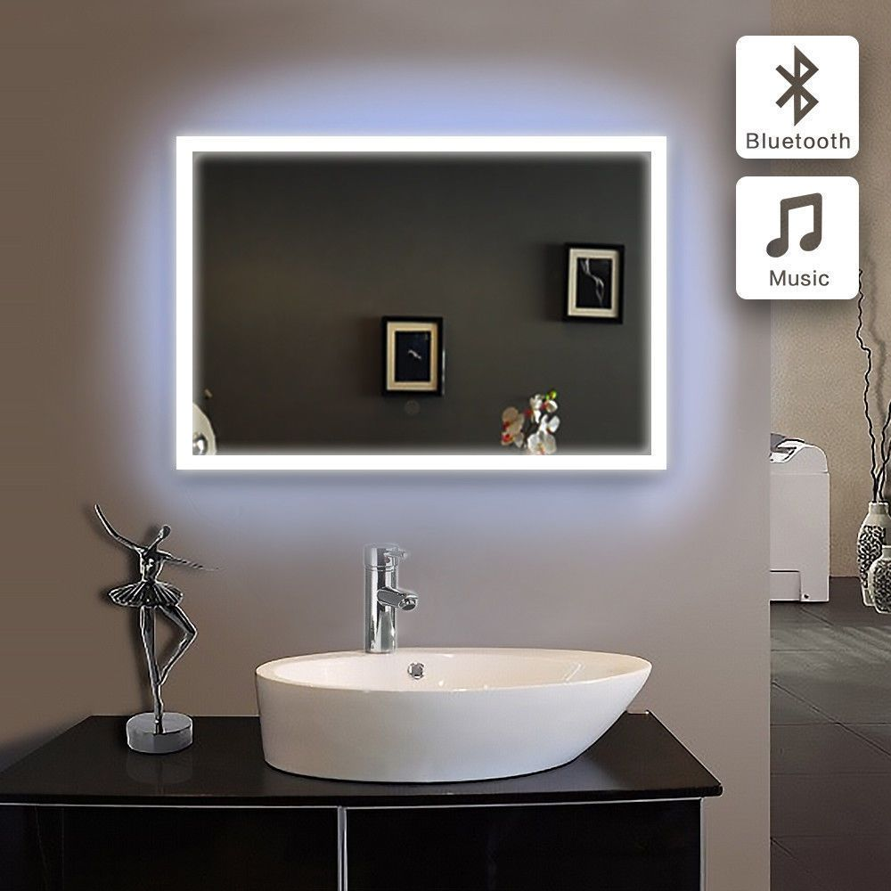 Stylish Bathroom Bluetooth Rectangular Wall Glass Mirror Infra Red