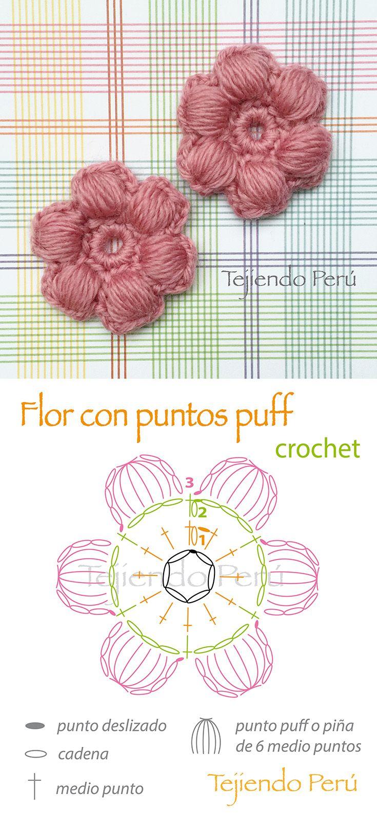 Crochet: flores con puntos puff o piñas de 5 medio puntos! Diagrama ...