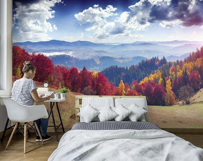 superbe paysage d 39 automne avec ce papier peint panoramique dans une chambre on s 39 y croirait. Black Bedroom Furniture Sets. Home Design Ideas