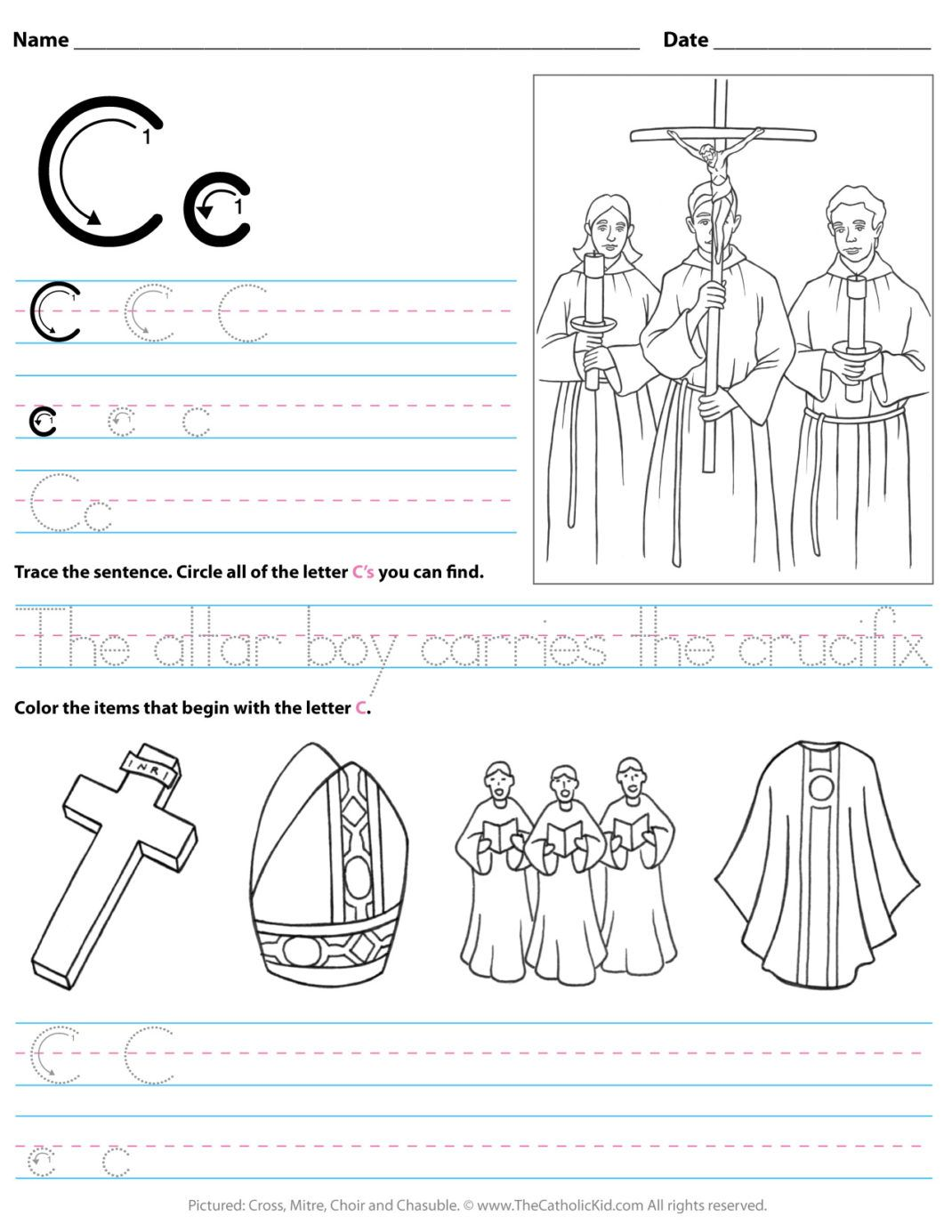 Catholic Alphabet Letter C Worksheet Preschool