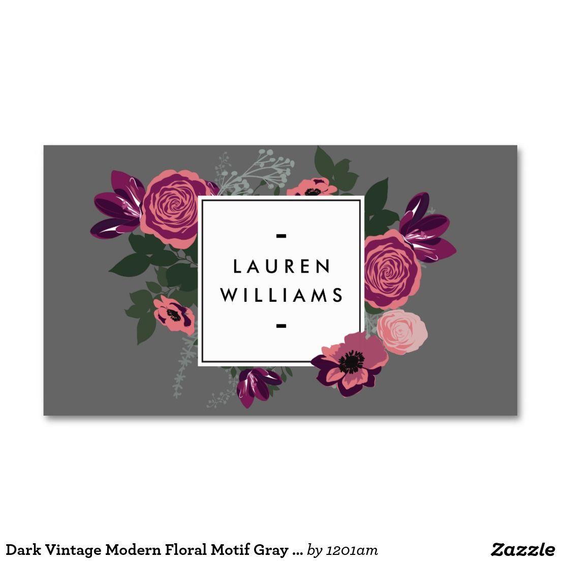 Dark Vintage Modern Floral Motif Gray Designer Business Card ...