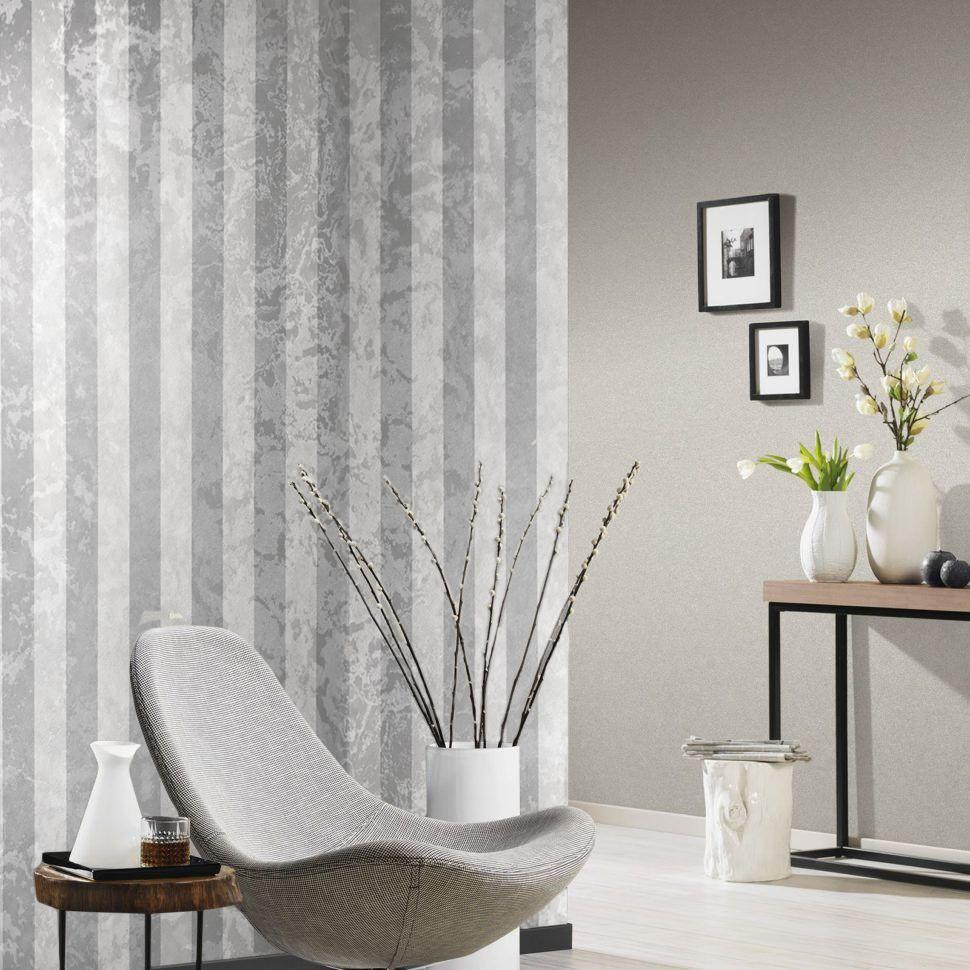 300062 Striped White Silver Grey Rusted Textured Wallp