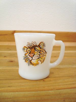 Details about Vintage Exxon Tiger Milk Glass Coffee Mug ...