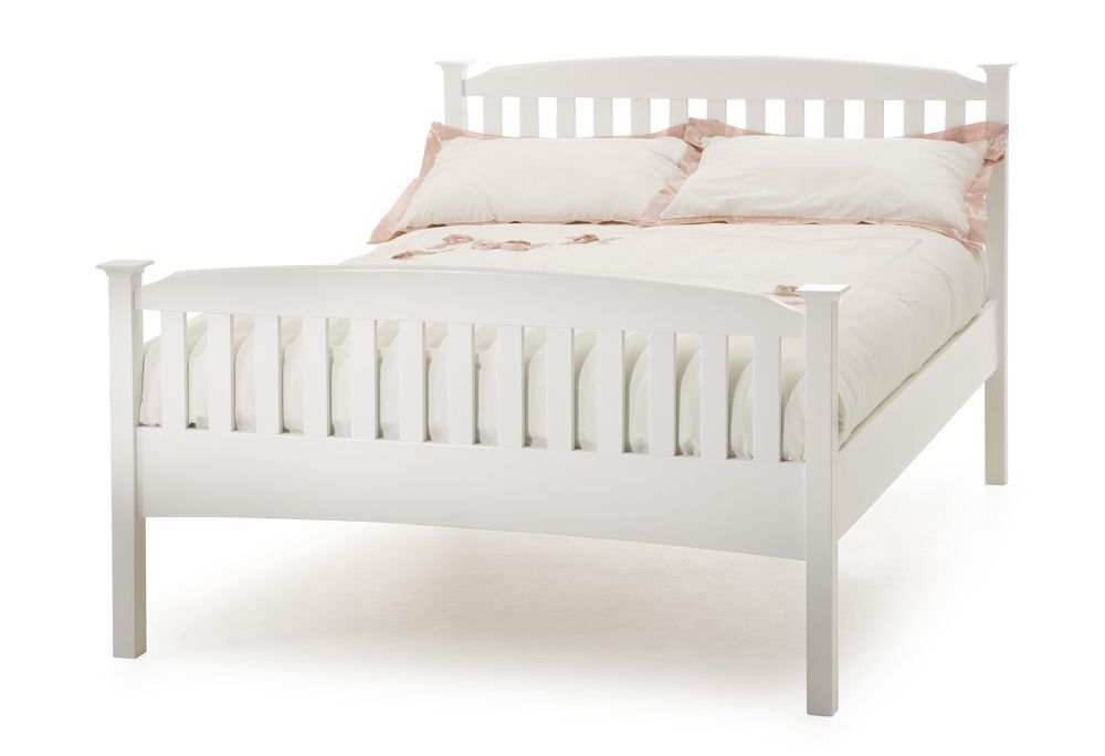Helena Opal White High Foot King Size Bed Frame White Wooden Bed