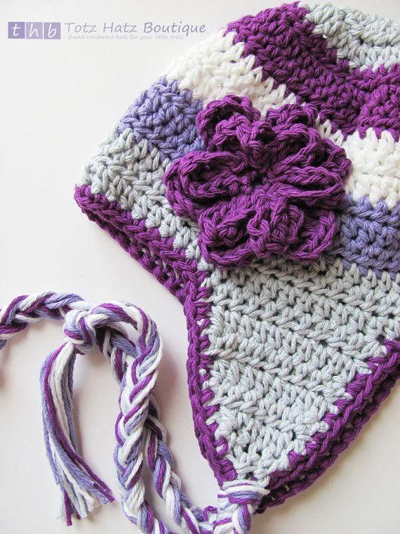 Grey, Dark Grape, White, Lavender Stripe Crochet Earflap ...