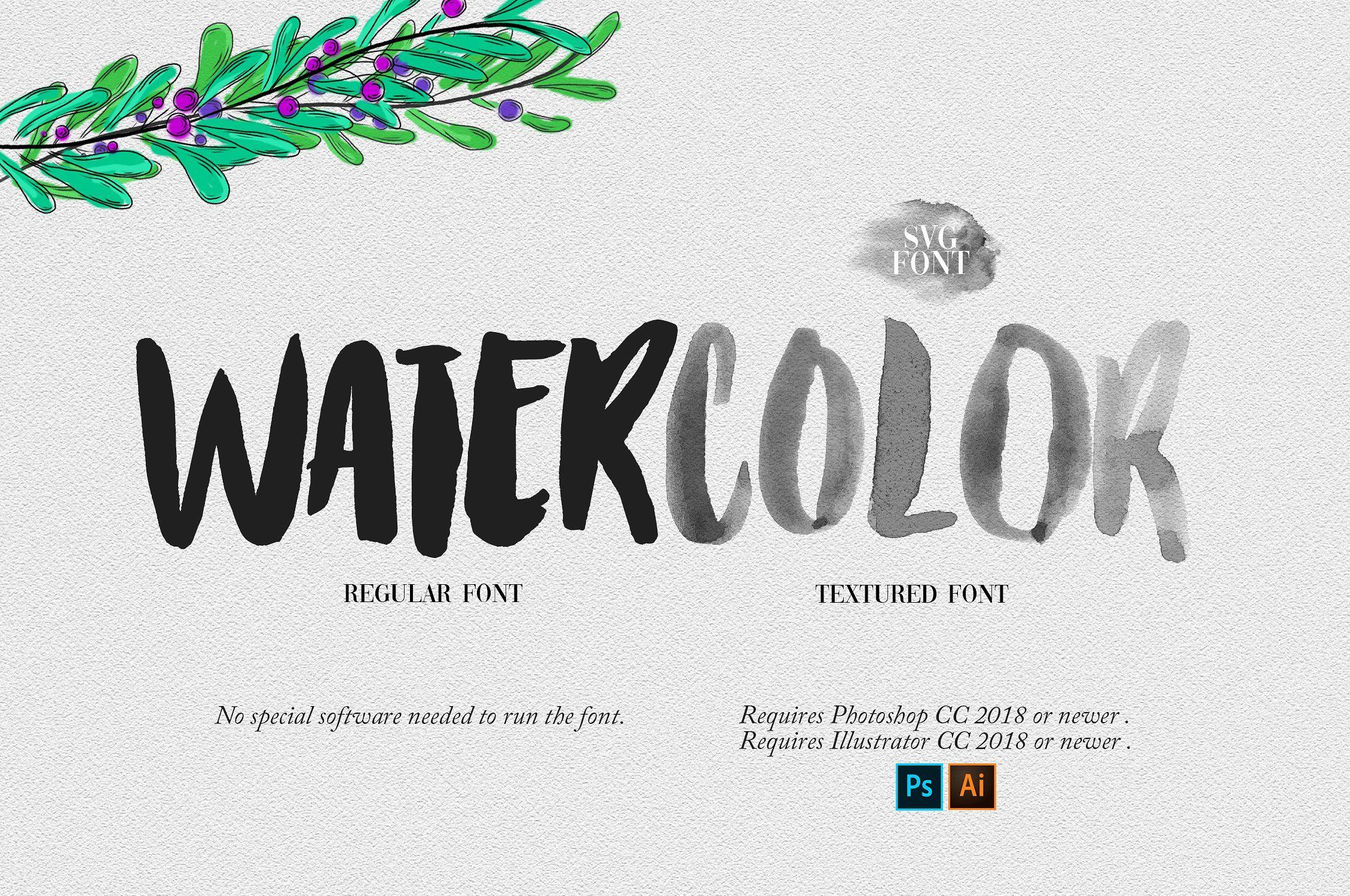 Watercolor OpentypeSVG Font Watercolor font, New fonts