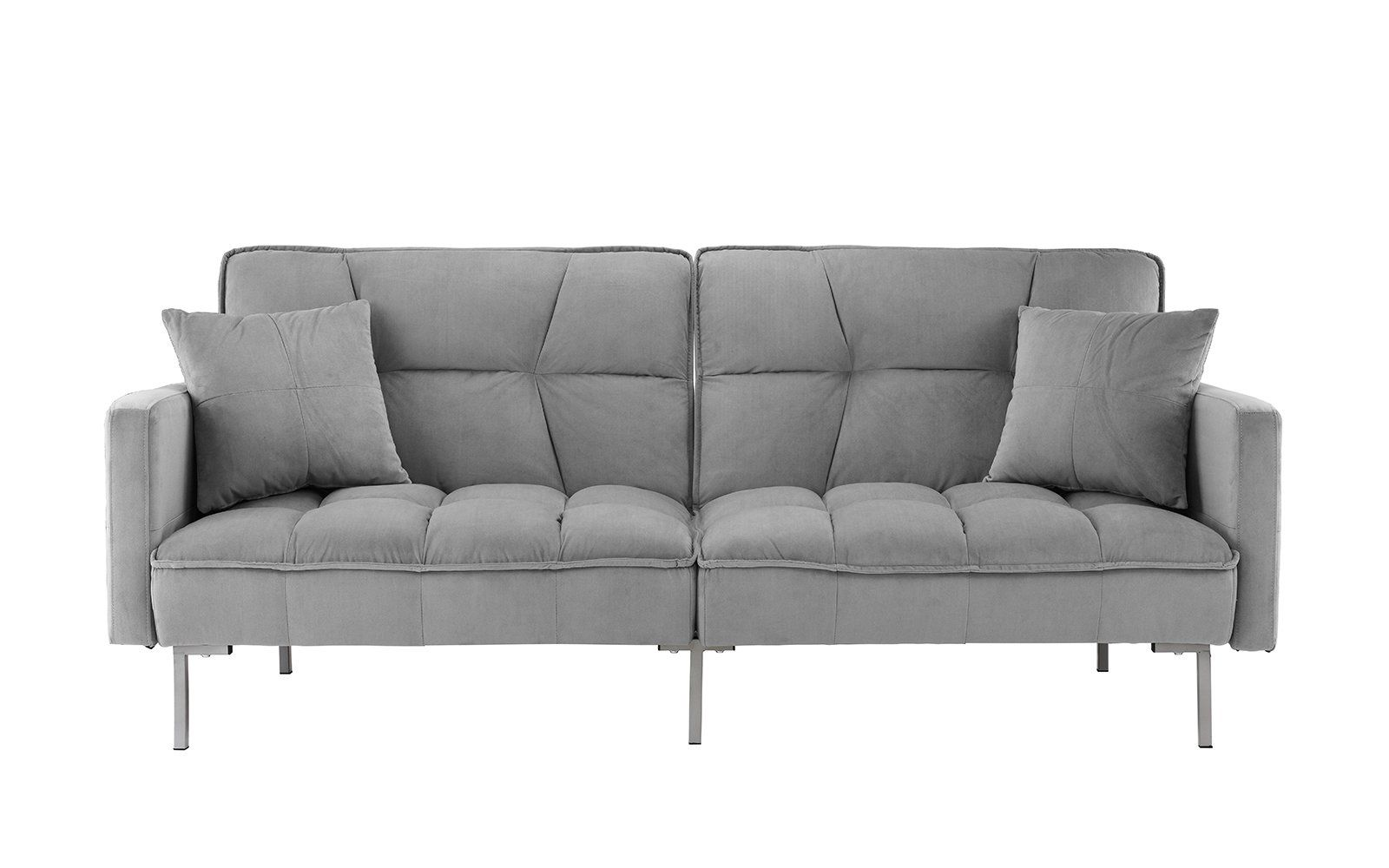 Myla Modern Tufted Velvet Splitback Futon Sleeper Sofa Sleeper Sofa Sofa Living Room Sofa