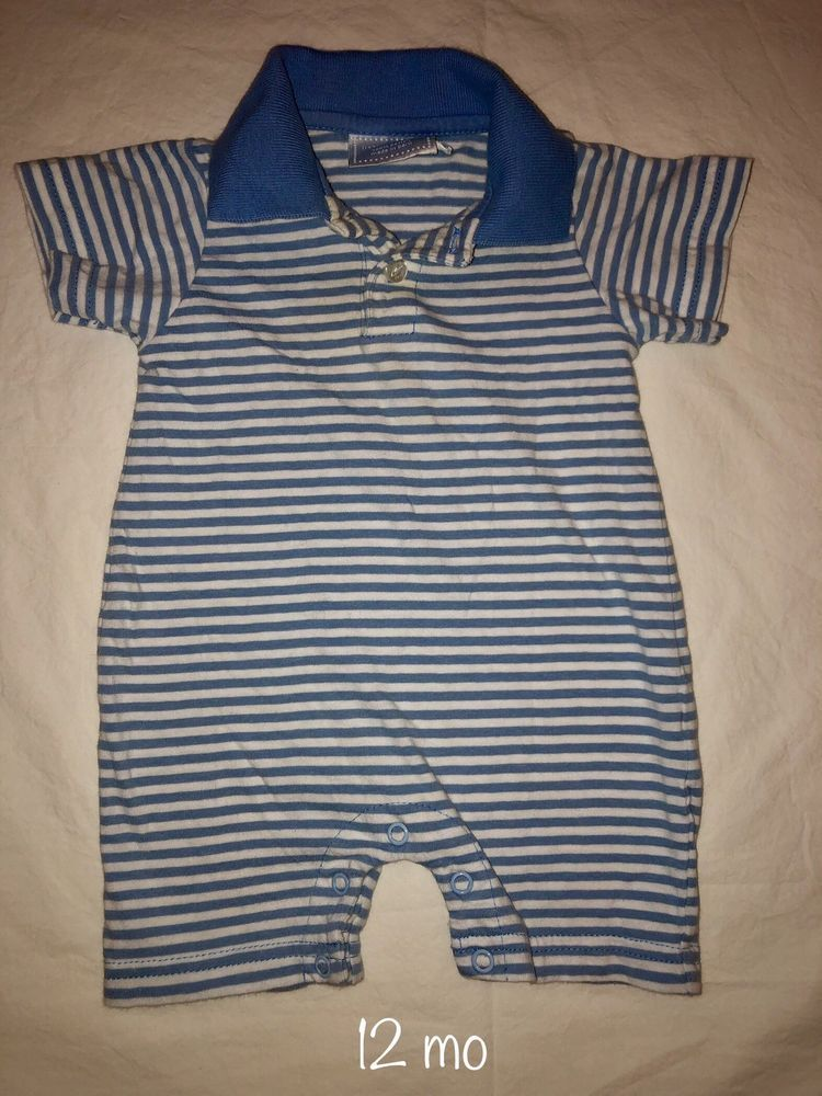 ed37615c3c8 EUC Little English Baby Boy Blue And White Striped Collard Romper 3 Months   fashion  clothing  shoes  accessories  babytoddlerclothing ...
