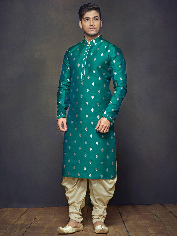 G3 Exclusive Festive Wear Green Raw Silk Men Kurta Suit for#diwali ...