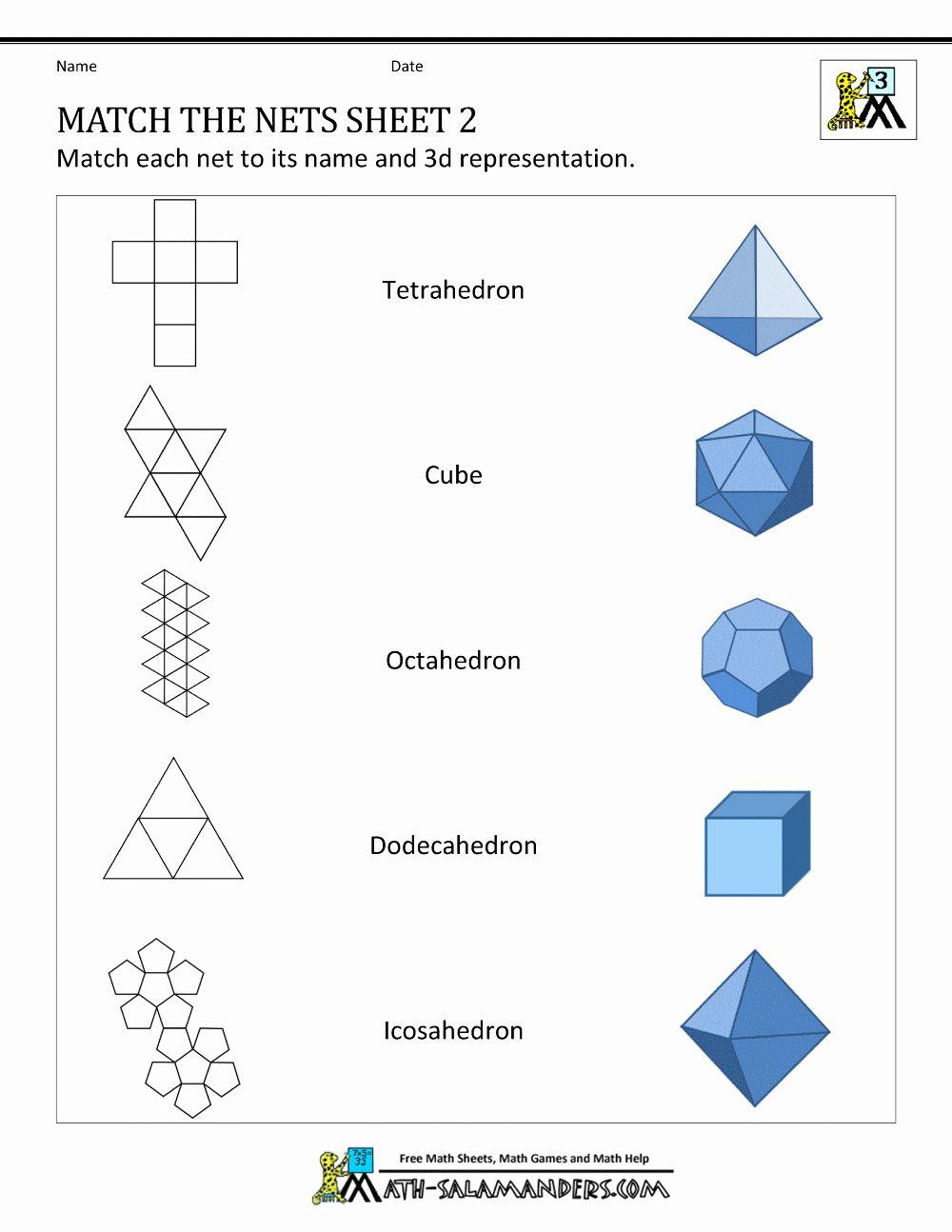 3d Net Shapes Worksheet Grade 4 Easy Crafts For Teens Shapes Worksheets Crafts For Teens To Make