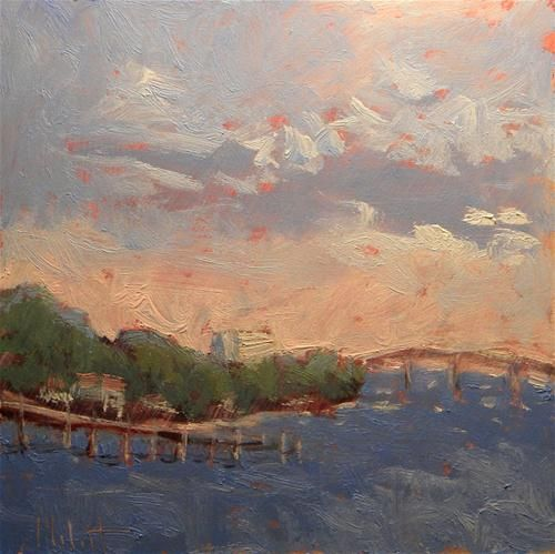 "Daily+Paintworks+-+""Daytona+Beach+Intracoastal+Waterway+Florida+Impressionist+Oil+Painting""+-+Original+Fine+Art+for+Sale+-+©+Heidi+Malott"
