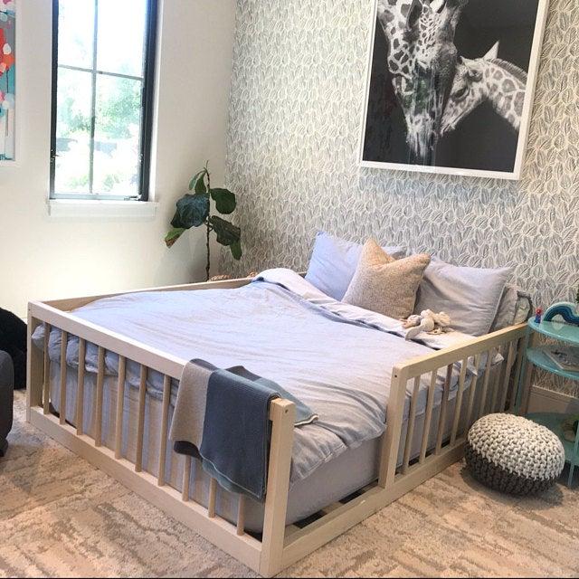 Twin Or Full Size Montessori Floor Bed To Raised Bed Frame Convertible With Rails Full Floor Bed Hardwood 4 Railing Legs Slats Floor Bed Floor Bed Frame House Frame Bed Twin bed frame with slats