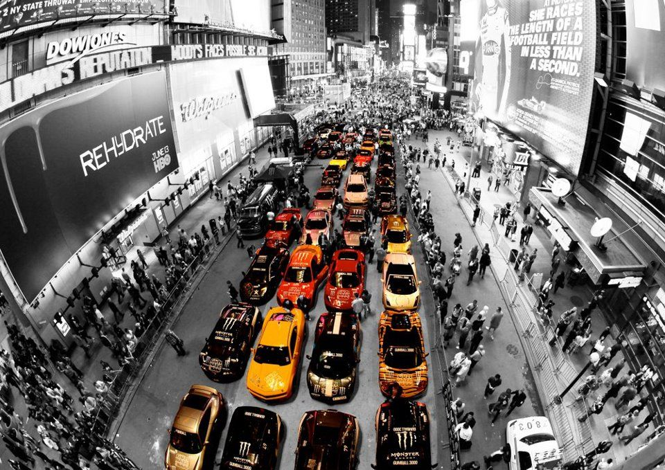 The 2012 Gumball 3000 cars lining up in New York Times