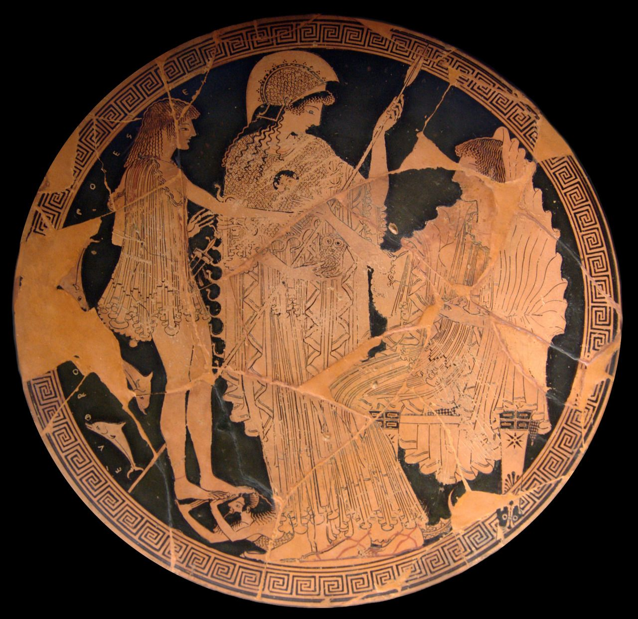 Theseus and Amphitrite with Athena looking on. Interior from an Attic red-figure cup by Onesimos, an ancient Athenian vase painter, 500–490 BC.