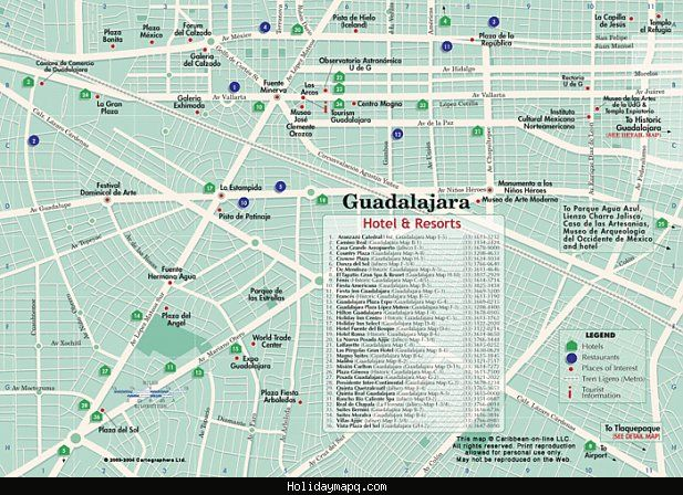 cool Guadalajara Map Tourist Attractions Holidaymapq Pinterest
