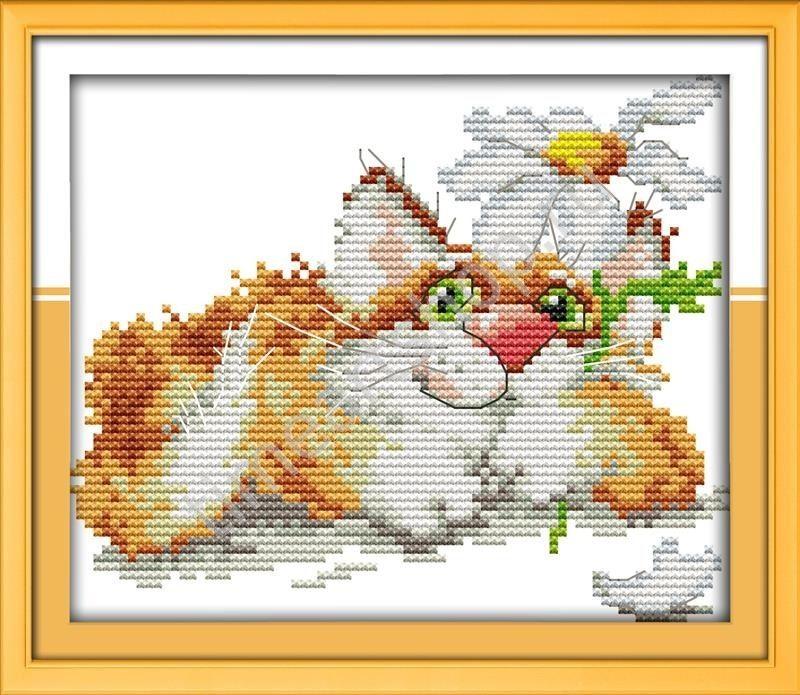 Схема вышивка крестом рыжий кот