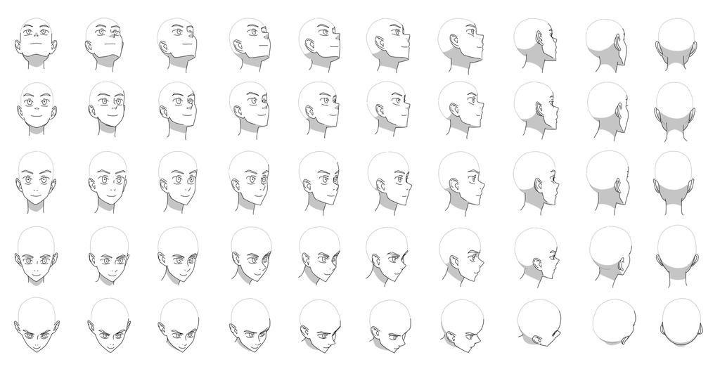 Head Angles Chart By Flipfloppery On Deviantart Head Angles Anime Head Face Angles
