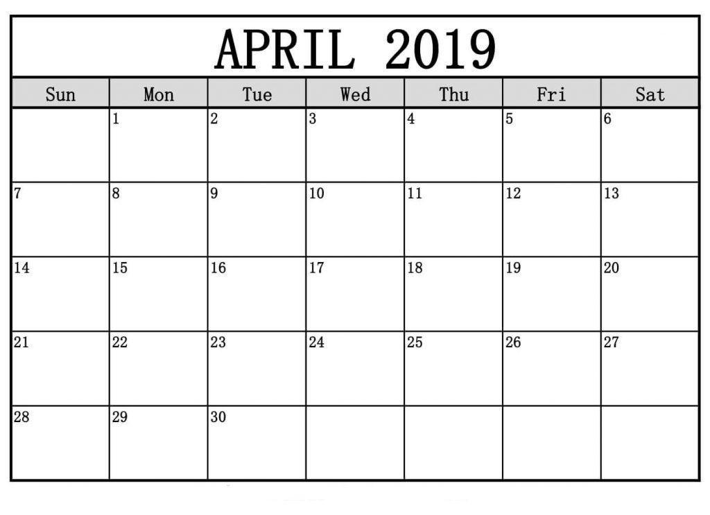 Blank Calendar April 2019 150+ April 2019 Calendar Pinterest