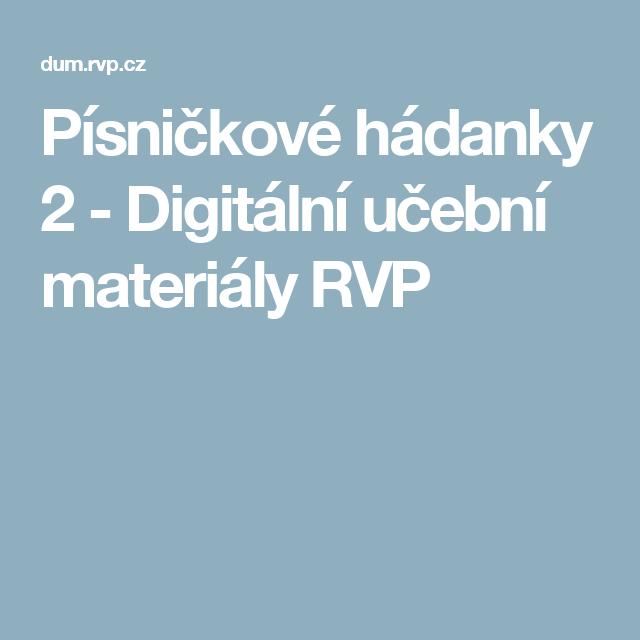 Pisnickove Hadanky 2 Digitalni Ucebni Materialy Rvp Skolka