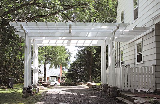 Driveway pergola this garden structure functions as both for Open pergola designs