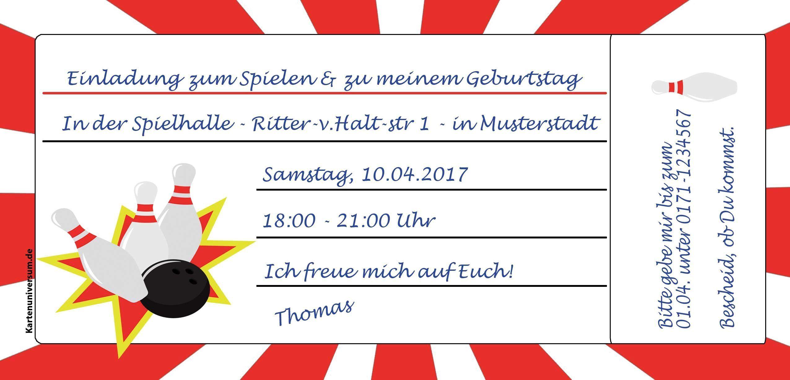 Text Einladung Kindergeburtstag Kegeln New Einladung Zum Kegeln Vorlage | Geburt...