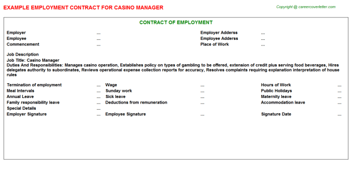 Casino Manager Employment Contract  Ferdy