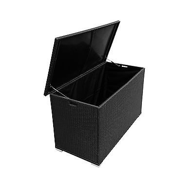 Black Rattan Outdoor Patio Wicker Deck Storage Box Furniture Pool Toy  Container