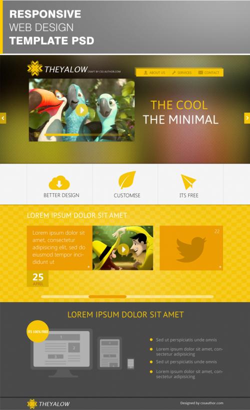 Nice THEYALOW Responsive Web Design Template PSD THEYALOW - Responsive web design templates free download