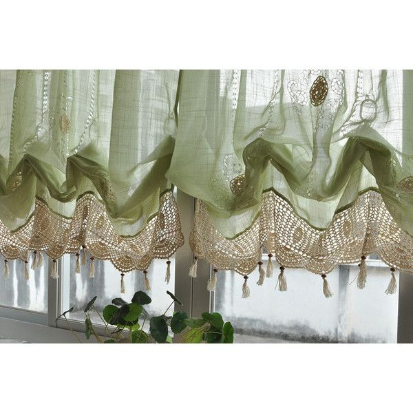French Country Green Lace Crochet Balloon Shade Austrian Sheer Voile Cafe Kitchen Curtain Balloon Shades Balloon Curtains Green Sheer Curtains