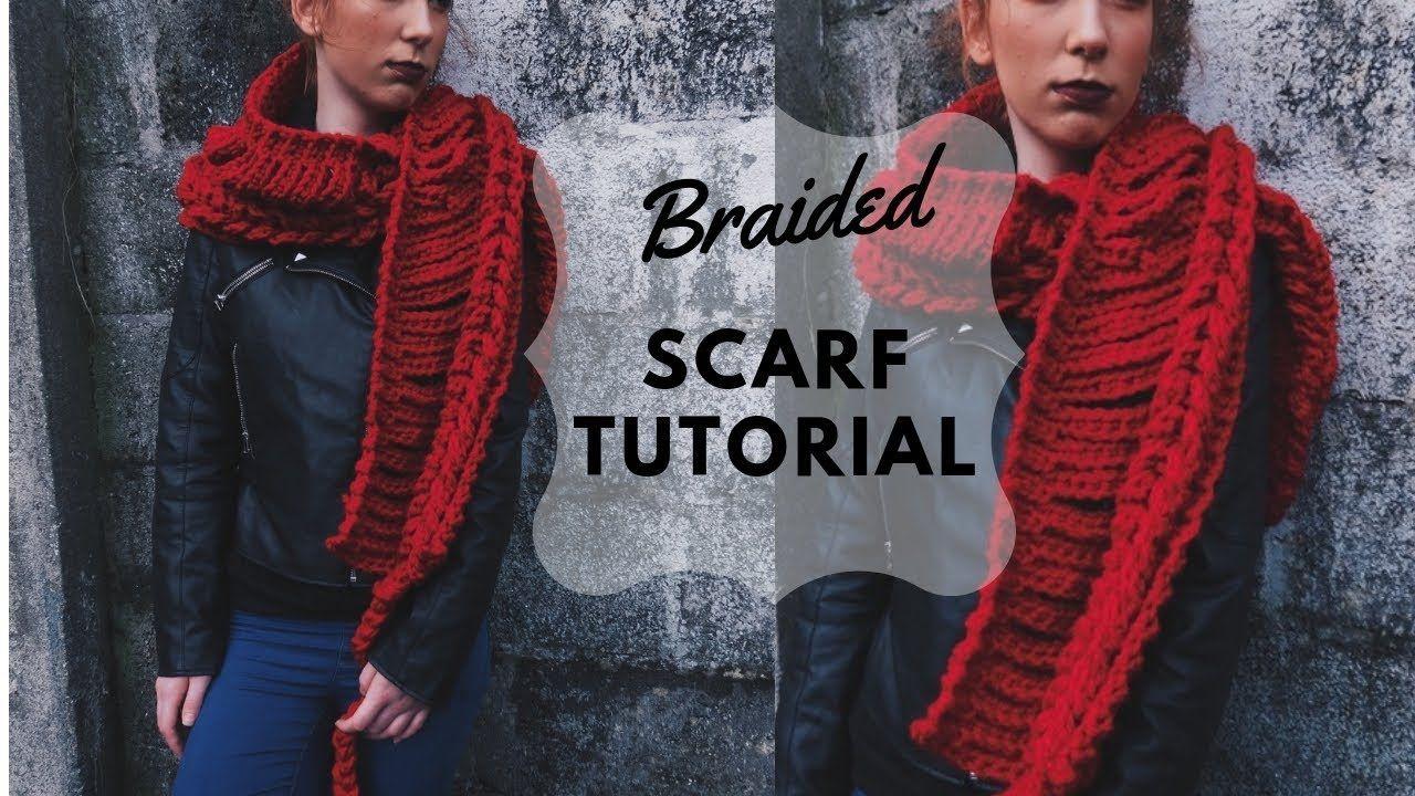 Crochet Braided Scarf Tutorial Youtube Diy Braided Scarf