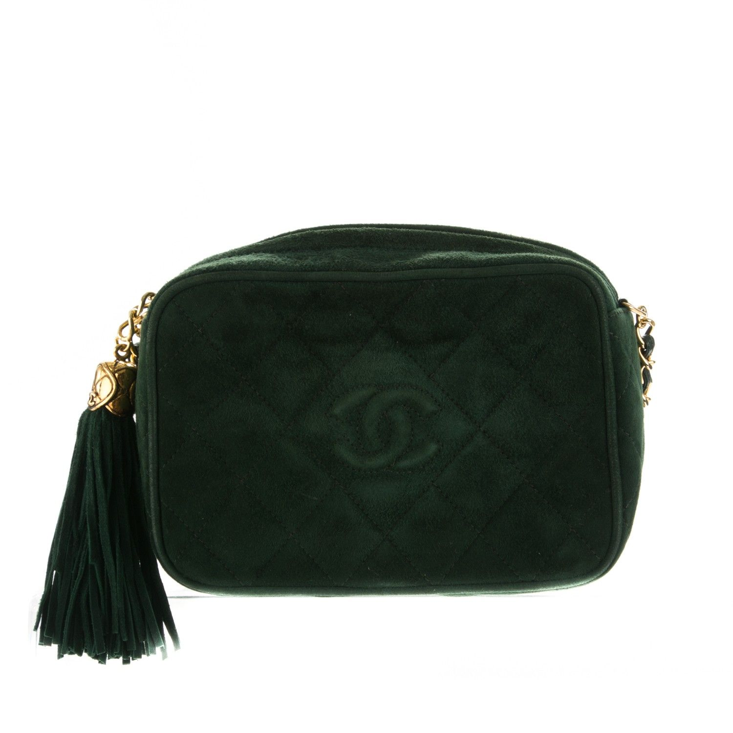 f7f912558498 This is an authentic CHANEL Vintage Suede Quilted CC Tassel Camera Case in  Dark Green.