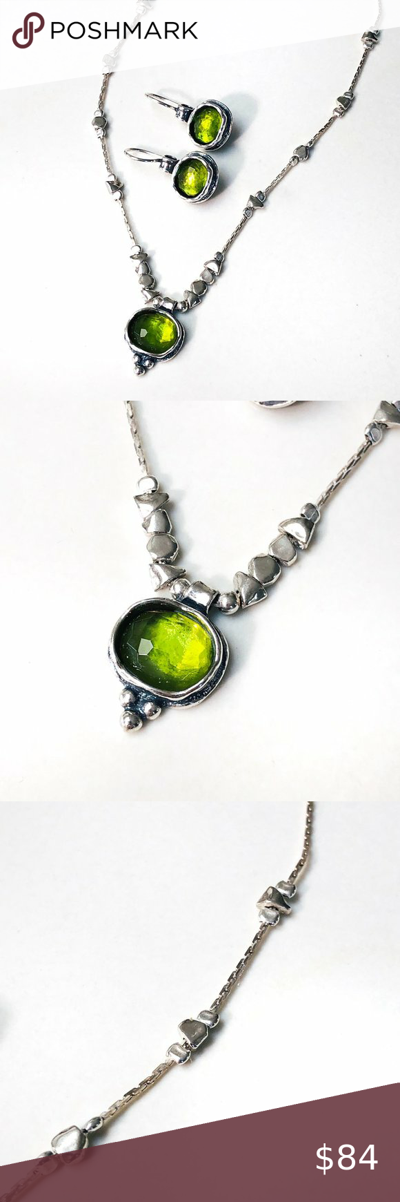 Green Glass Matching Necklace /& Earing Set
