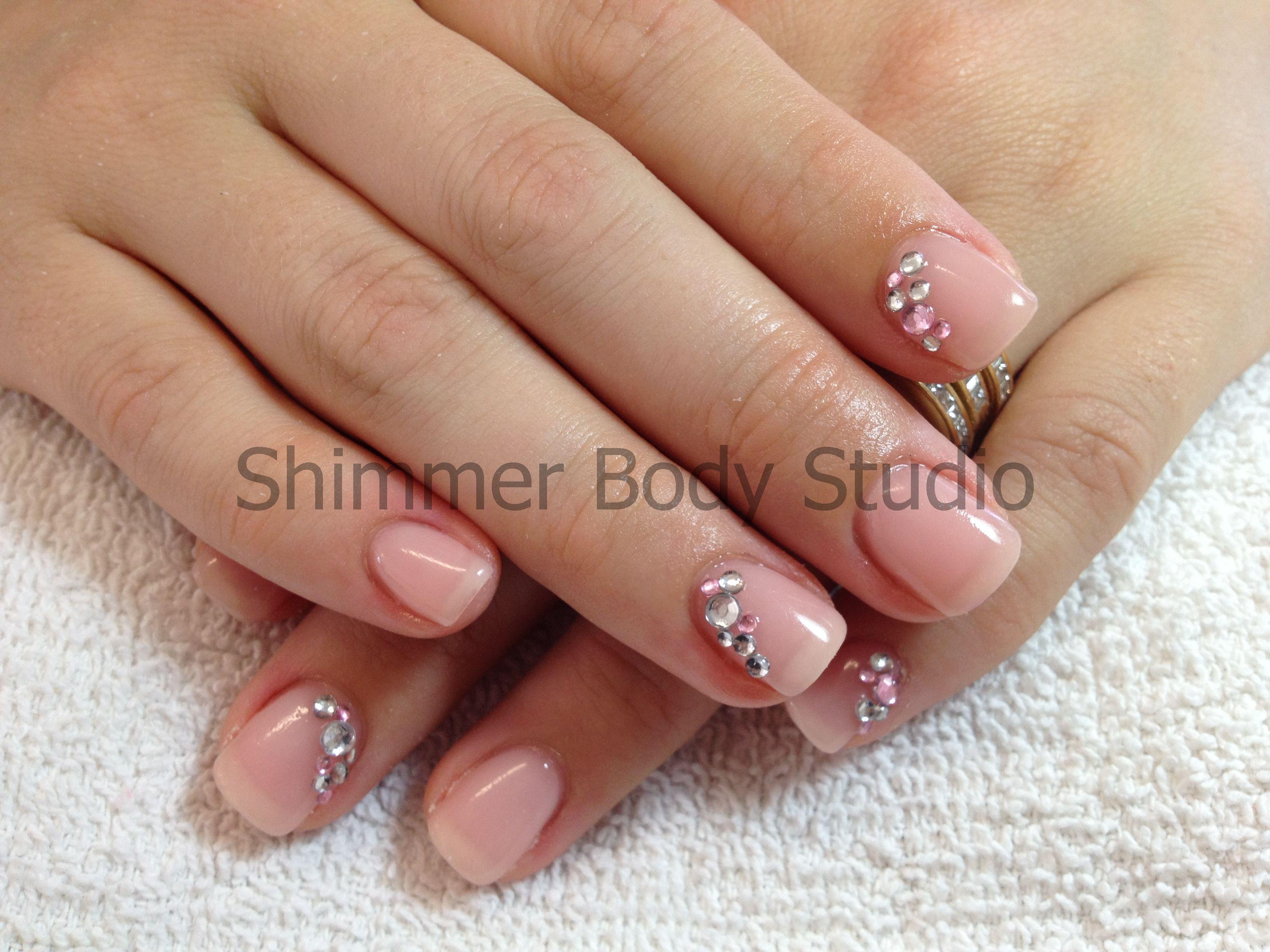 Gel nails, short nails, nude nails, crystals, diamante nail art by ...
