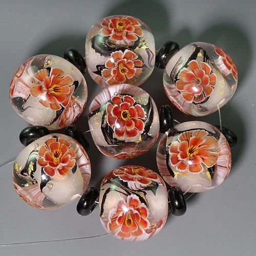 Ikuyoglassart Handmade Lampwork gold leaves Flower Murrini Focal Bead set sra