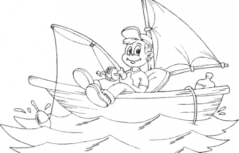 Boy Fishing From Boat Coloring Pages Fish Coloring Page Coloring Pages Spring Coloring Pages