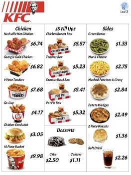 Fast Food Menu Math Kfc For Autism Special Education And Early Elementary Fast Food Menu Low Calorie Fast Food Food Menu