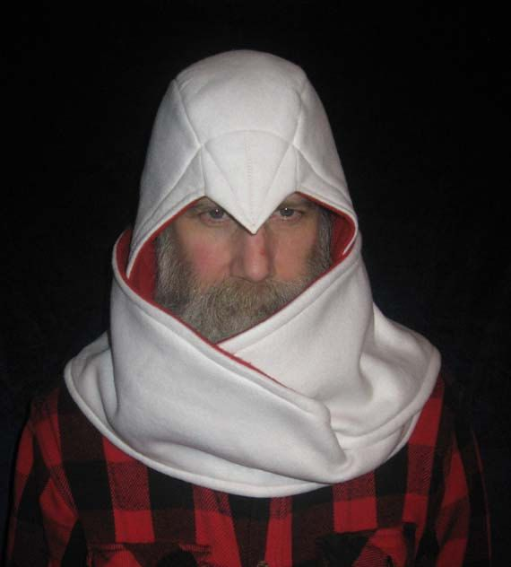 Assassin's Creed Inspired Beaked Hood Scarf White And CrimsonThe Adorable Assassin's Creed Hood Pattern